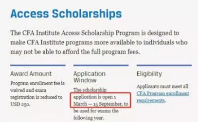 2020年CFA报名助学金申请入口将于2019年3月1日开放!